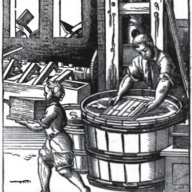 A paper mill of the 16th century. From Chartarius. Der Papyrer. (The Paper Maker) / Panoplia omnium illiberalium mechanicarum ... (Book of Trades). | Released by the British Museum on the W3C open data standard.