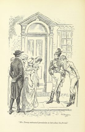 Denny and Wickham charm the Bennet girls with their militia uniform | Sourced from the British Library, 'Pride and Prejudice', Jane Austen. Illustration by C. E. Brock.