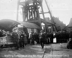 Waiting for news at the pit head September 21st 1915. | Image supplied by Vince Taylor
