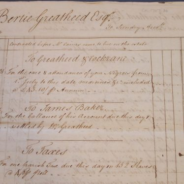 Detail of the accounts for medical care of the slave at the St Kitts plantation. | Warwickshire County Record Office reference CR1707/30