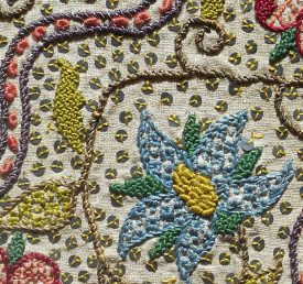 Detail of the gorgeous embroidery of the Throckmorton volume. | Warwickshire County Record Office  CR1998/Exhibition box Miss Scroggs/No 24