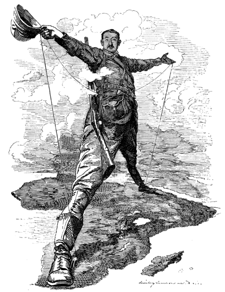 A black and white cartoon of Cecil Rhodes astride Africa | Image sourced from Wikimedia Commons, originally uploaded by William Avery