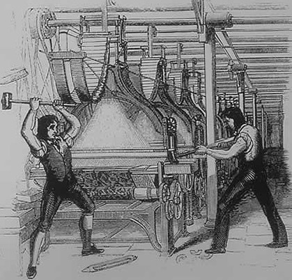 Luddites smashing a loom in the early 19th century | Image sourced Wikipedia Commons, originally uploaded by Christopher Sunde