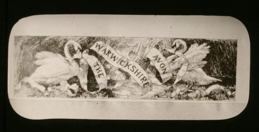 Drawing of two swans holding a banner reading 'The Warwickshire Avon' | Courtesy of Warwickshire CC, Rugby Library Local Studies Collection; WCRO PH827/5/1 Rev. E. Dew