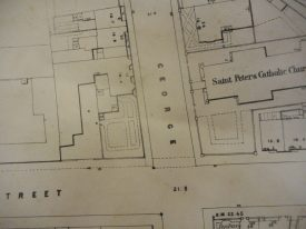 A map of the area around George Street from around 1852. | Warwickshire County Record Office reference CR2743/3.