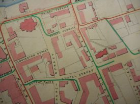A map of the area around George Street from around 1856. | Warwickshire County Record Office reference CR1538/193