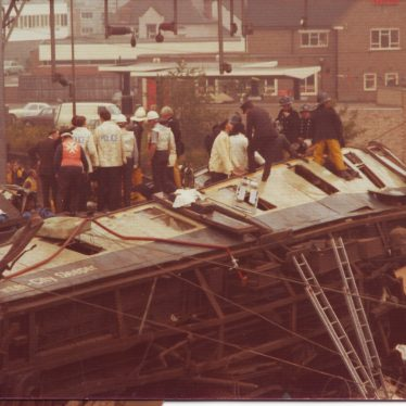 Nuneaton.  Train Crash in Colour