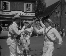 Morris dancers in Stretton on Dunsmore, 1967. Frank Scotford is on the far right. | Warwickshire County Record Office reference PH(N)212/56/3. Part of a photographic survey of Warwickshire parishes conducted by the Women's Institute.