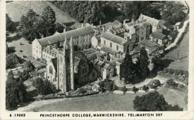 This image dating from the 1960s shows a black and white aerial view of Princethorpe College, along with some of the surrounding grounds. | Princethorpe College