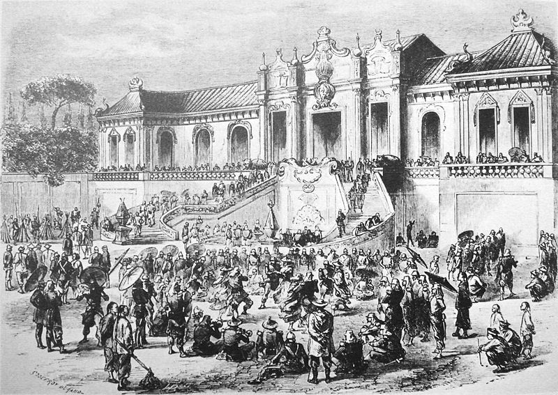 Looting of the Yuan Ming Yuan pavilion by Anglo-French forces in 1860. | Godefroy Durand. Originally uploaded to Wikipedia.
