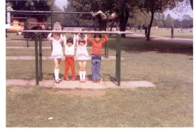Me with my brother and cousins in the summer of 1973 on the monkey bars. | Image supplied by Louise Jennings.