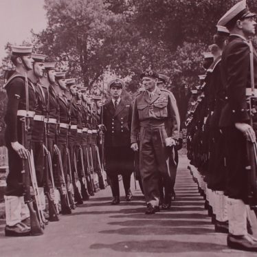 Field Marshal Montgomery Inspecting a Naval contingent in Riversley Park. | Warwickshire County Record Office reference PH882/4/2567