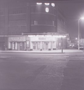 The Ritz (when ABC), Nuneaton. 24/11/1967. The photo is taken at night, with the signage illuminated. | Warwickshire County Record Office reference PH882/4/2772