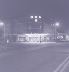 The Ritz (when ABC), Nuneaton. 24/11/1967. The photo is taken at night, with the signage illuminated. | Warwickshire County Record Office reference PH882/4/2773