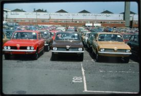 Triumph Dolomites parked up, waiting to be sold. September 1978. | Photo copyright Graham Richardson