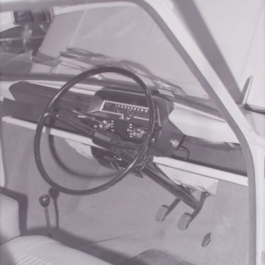 Photograph of close-up of Imp dashboard and steering column on launch week, May 3rd 1963. | Warwickshire County Record Office reference PH 882/2/1249