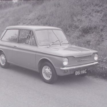 The new Hillman Imp in lane near Ansley. | Warwickshire County Record Office reference PH 882/2/1361