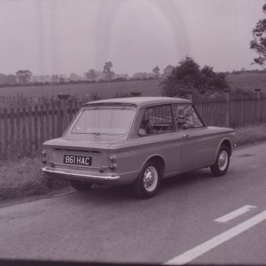 The new Hillman Imp in lane near Ansley. | Warwickshire County Record Office reference PH 882/2/1363