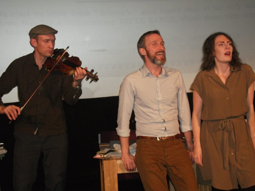 Kieron (fiddle), Hannah and Derek (singers) performing in Fallen Voices at the Royal Spa Centre, Friday 30th October 2015 | Heritage and Culture Warwickshire