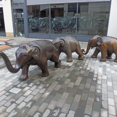 Leamington Spa.  The Three Graces Elephants