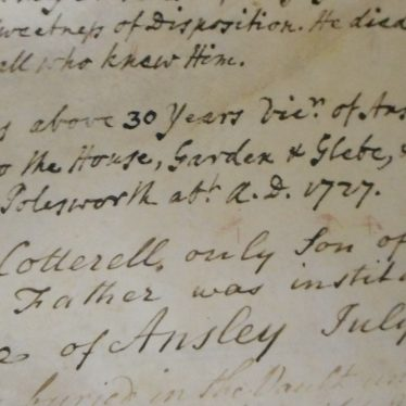 Two notes following Rev'd Cotterell's obituary, stating his service at Ansley and Polesworth and his son's advancement to the Vicarage of Ansley. | Warwickshire County Record Office, DR 298/2