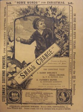 The front page of the1892 Christmas edition of 'Home Words' shows the sepia colored illustration of a young boy about to throw a snowball, this is framed by written advertisements and set below are the contents of the edition   Warwickshire County Record Office reference CR4295/7