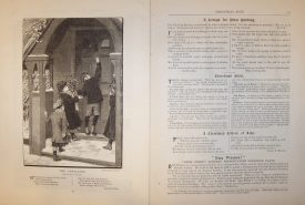 A double page spread which features a picture of child carol singers standing in the porch of a house about to knock on the door, while the facing page contains a recipe for plum pudding in song form.   Warwickshire County Record Office reference CR4295/7