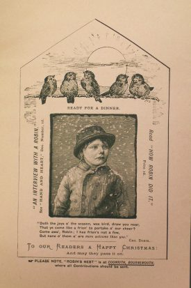 The back page of the flyer for the 'Robin Dinner' shows in sepia coloring a young boy wrapped up in warm clothes for winter and writing encourages donations from readers.   Warwickshire County Record Office reference CR4295/7