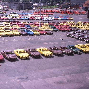 TR7s parked up waiting to be finished, September 1978. | Photo copyright Graham Richardson