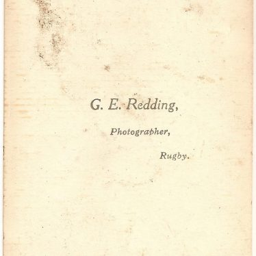 The back of a photo, distinguishing it as by George Redding. It says 'G.E. Redding, photographer, Rugby' | Image courtesy of Alistair Redding.