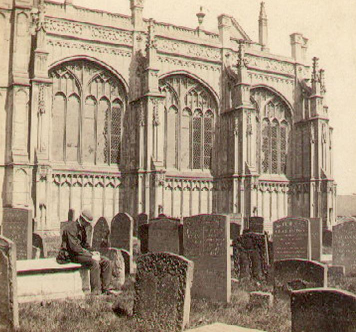 1860s photo of an old man sitting on a tomb outside St Mary's Collegiate Church, Warwick. | Warwickshire County Record Office reference PH474/7/10