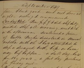 The actual diary entry from 1849 | Warwickshire County Record Office CR3722