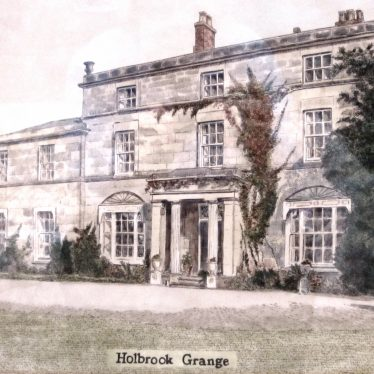 3-storey stone Georgian manor house with sash windows, a porch and a 2-storey extension. Stone vases and trees in the garden | Watercolour by R. Clarke, courtesy of Mr & Mrs Shaw