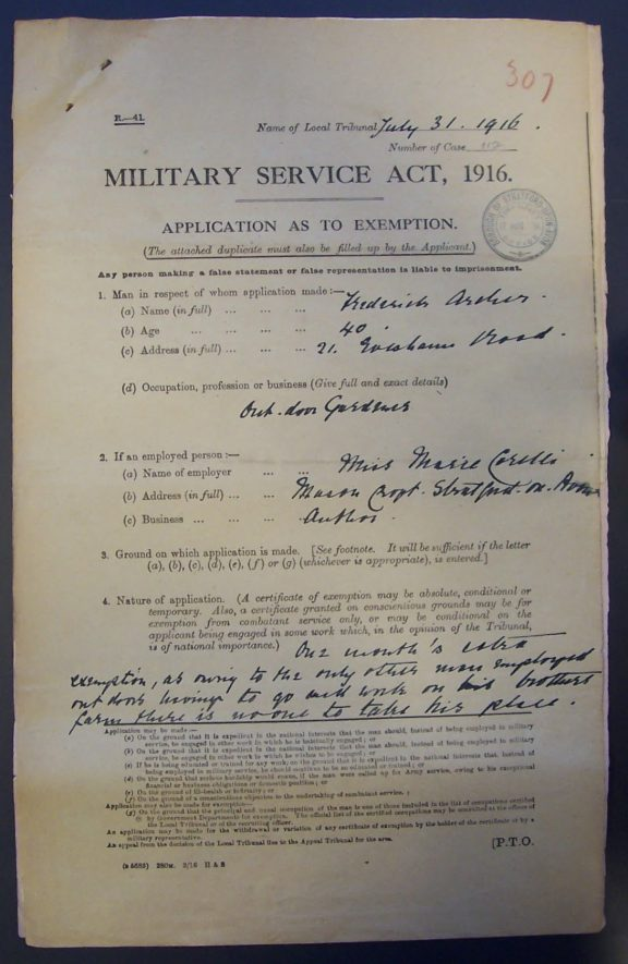 The appeal against conscription for Frederick Archer   Warwickshire County Record Office reference CR1520/Box 59/Meeting 20
