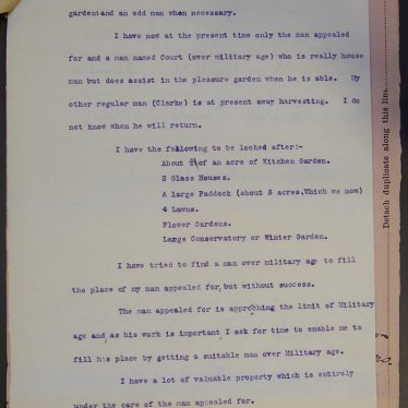 Miss Corelli's letter to the Appeal Tribunal | Warwickshire County Record Office reference CR1520/Box 59/Meeting 20