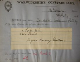 Entry for a stolen pork pie, 1905 | Warwickshire County Record Office reference CR2770/467