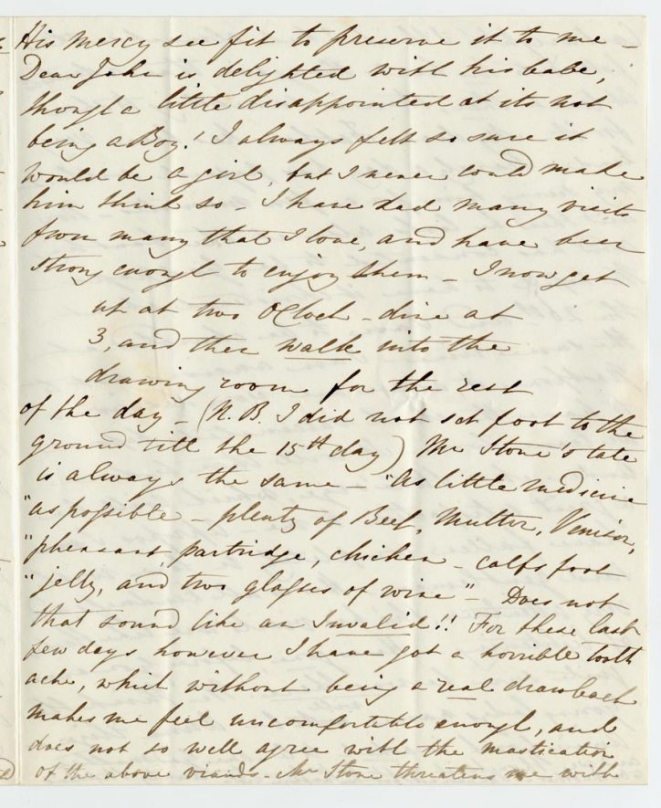 Page 3 of a long letter from Anna Jarrett to her brother. | Warwickshire County Record Office reference CR341/327/111