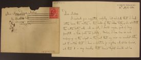 George Bernard Shaw's letter to Mary Dormer Harris (still with the original envelope and stamp). | Warwickshire County Record Office  reference CR3874/1/11