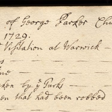 Churchwardens' Account Book, Coughton 1729