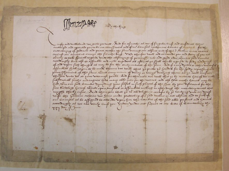 The 1513 document stamped with the signature of Henry VIII at the top. | Warwickshire County Record Office reference CR2981/7/1/5/1