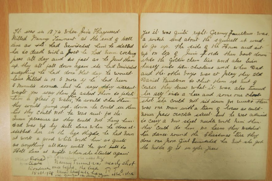 The statement of Richard Clarke, son of an eyewitness to the murder of Ann (Nanny) Tennant. | Warwickshire County Record Office reference CR1892/1