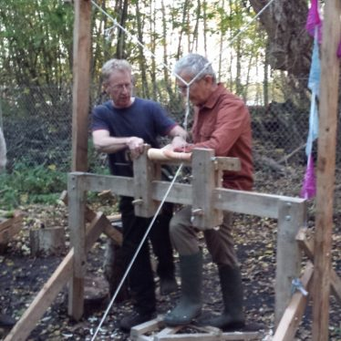 Woodland Crafts - two men and a mysterious contraption! | Kristie Naimo