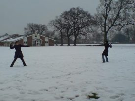 Snowfights on the field in front of our beloved Acorn Block (home to English and History) | Image courtesy of Becky Hemsley