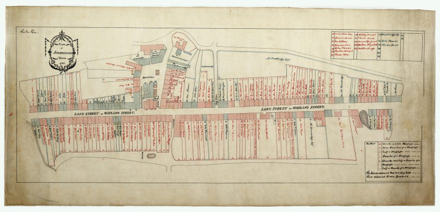 The Atherstone House History Plan, 1786. Each dwelling is labelled individually. | Warwickshire County Record Office reference CR2511/21