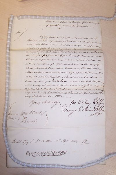 The original licence application from 1803. Click on the word document below for a transcription of the document. | Warwickshire County Record Office reference CR1596/box 93/1/13