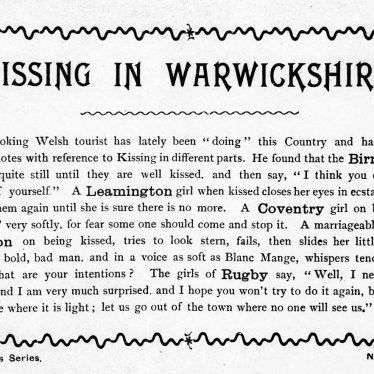 Kissing in Warwickshire.   Image supplied by John Burton