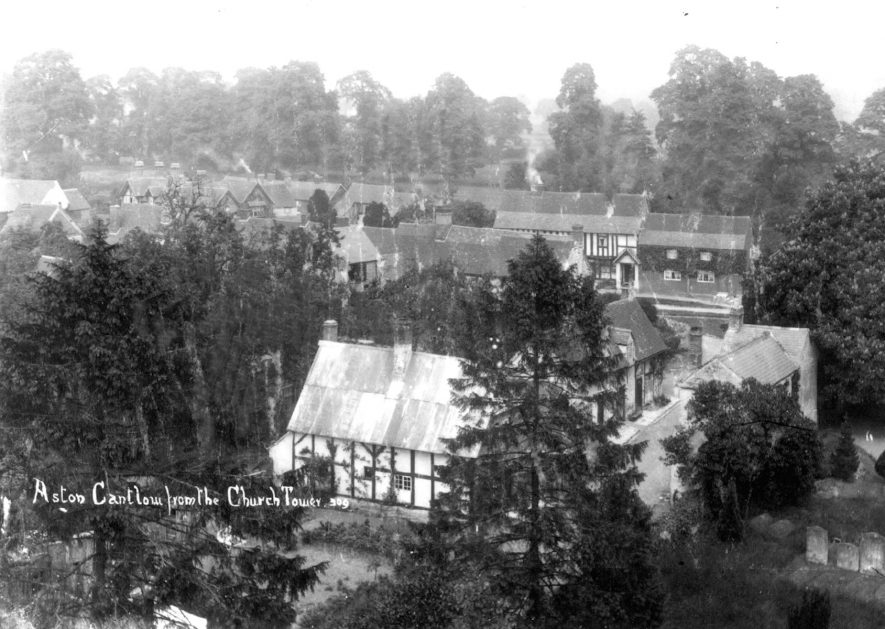View of Aston Cantlow village from the church tower, 1900s. | Warwickshire County Record Office reference PH 239/294
