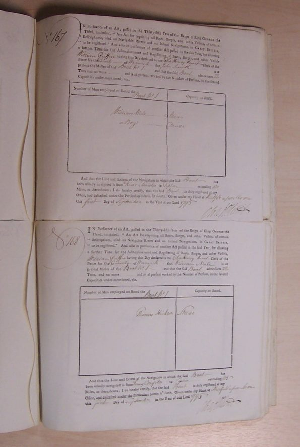 The Boat Registry book 1795-1796 | Warwickshire County Record Office reference QS0095/6/167-168