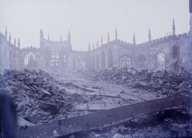 Bomb damaged Coventry Cathedral. | Warwickshire County Record Office reference PH(N) 600/279/1