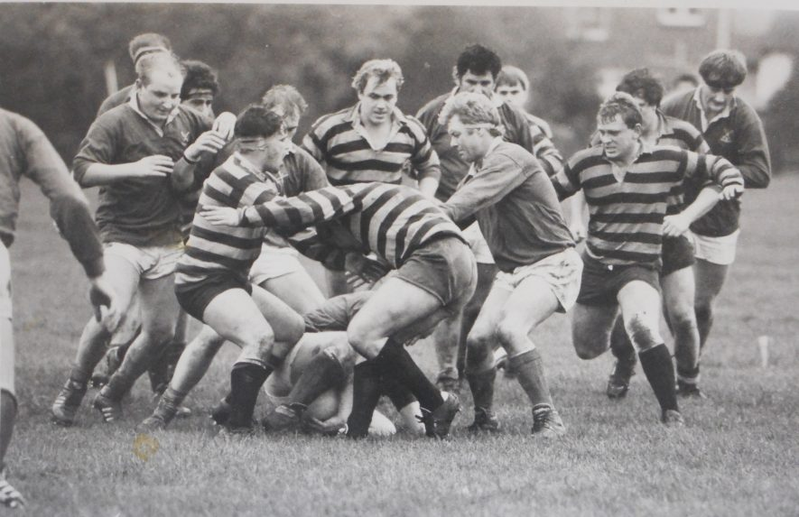 Shottery Rugby Club, c.1986-1987. They are in the dark solid shirts, and white shorts.   Image supplied by Derek Bowdery